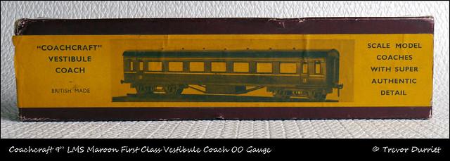 "Coachcraft 9"" LMS Maroon First Class Vestibule Coach OO Gauge P1060067"