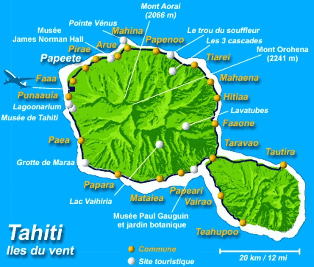 IMG001/French Polynésia/Tahiti Island/Map   Tahiti , French ...