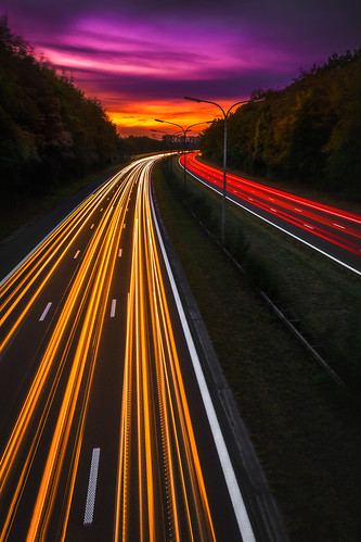 cartrails lighttrails sunset landscape photography nikon colorful highway longexposure belgium
