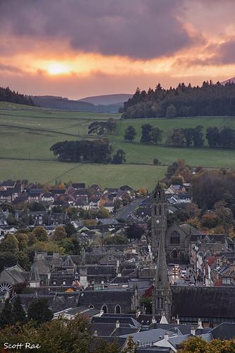 peebles scotland sunset town church scottishborders autumn fall dusk hills tweeddale peeblesshire uk