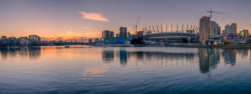 vancouver falsecreek clouds water waterfront skyline architecture cityscape city shore evening night sunset nikon d7000 downtown dslr boats hdr highdynamicrange wideangle westcoast orange glowing reflections panorama pano britishcolumbia bcplace rodgersarena landscape