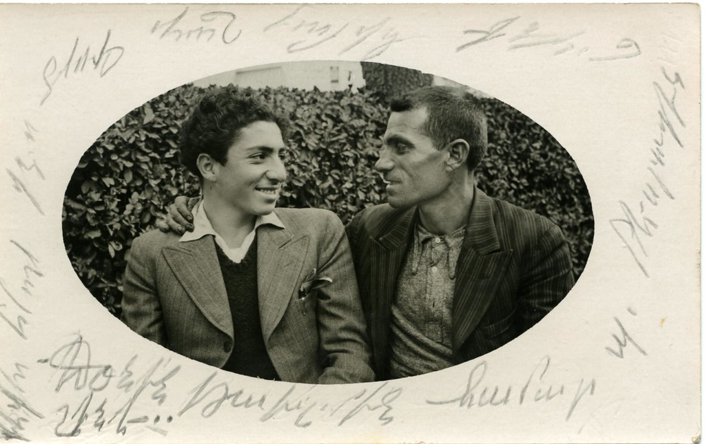 Photo postcard, Armenian men, smiling, c. 1938