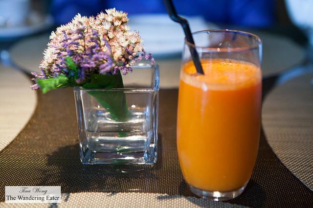 Fresh pressed carrot and orange juice