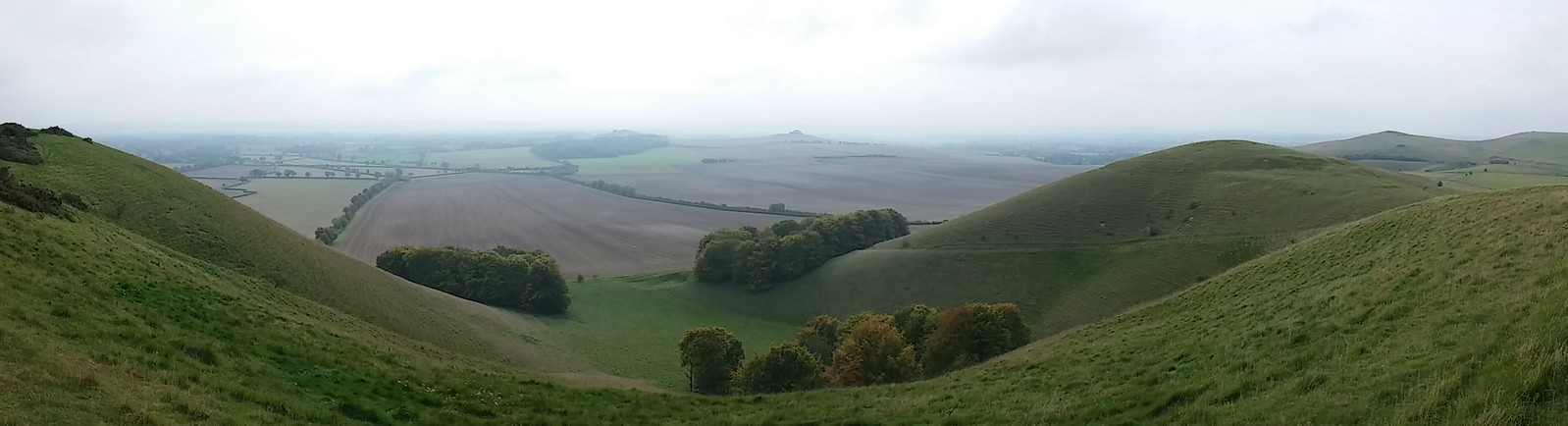 Panoramic View into Pewsey Vale , with Knap Hill and Walkers Hill on the right SWC Walk 127 Pewsey Circular; taken by Paul A.