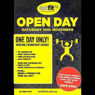 Allright OutFitters & Friends! We are having an Open Day on Saturday the 26th of November 2016 from 10am to 3pm. Grab yourself a membership at a foundation price!!!! Limited numbers on the day. Catering by Creative Catering Paella Pan!!!! 5996 9767 www.ou | by OutFit24