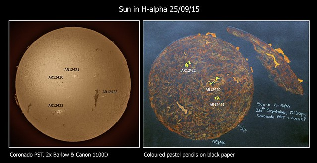 Sun in H-alpha Photo & Colour Sketch, 25/09/15
