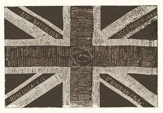 December, 1940. Photograph of signed memento flag from Bonegilla camp, Victoria.