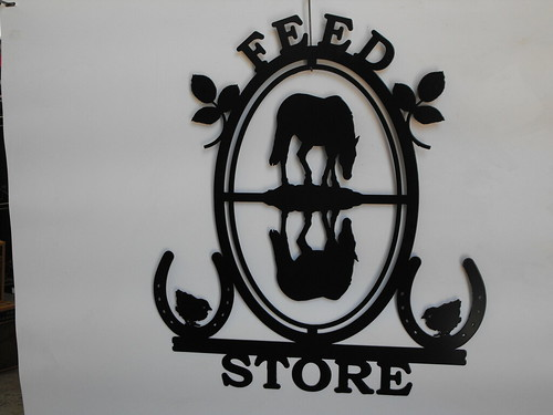 feed store horse reflection | by providencemetalart