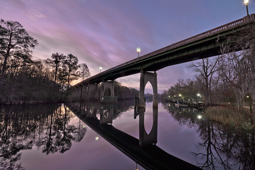 bridge reflection sc water clouds creek sunrise river stream purple conway southcarolina blackwater riverwalk horrycounty waccamawriver us501