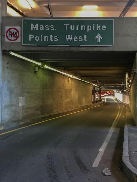 Original non-reflective button copy. Clarendon St on-ramp to I-90/Mass Pike. Boston, MA.