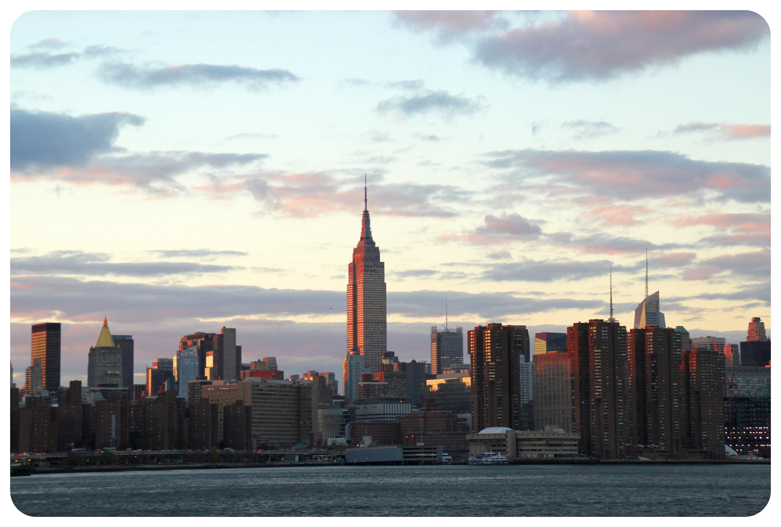 new york east river state park view with empire state building