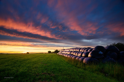 uk sky clouds sunrise dawn nikon devon d750 hay bales coleford alexring