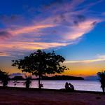 Evening silhouette Shot after sunset at Kouki Beach, Okinawa, Japan