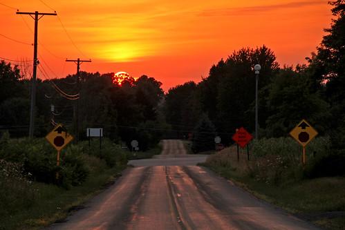 sunsetphotography sunsets sunset ohio clintonohio sun sunandclouds roads ruralscenes ruralamerica ruralohio ruralroads road rural