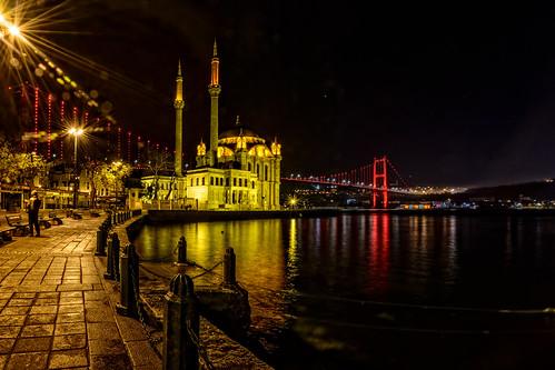landscape city sea street water travel night light istanbul turkey architecture cityscape lifestyle mosque lights reflections bosphorusbridge colours