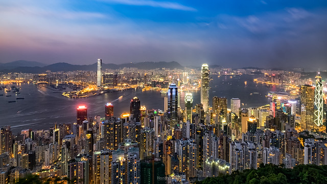 Hong Kong Night Landscape, view from The Sky Terrace