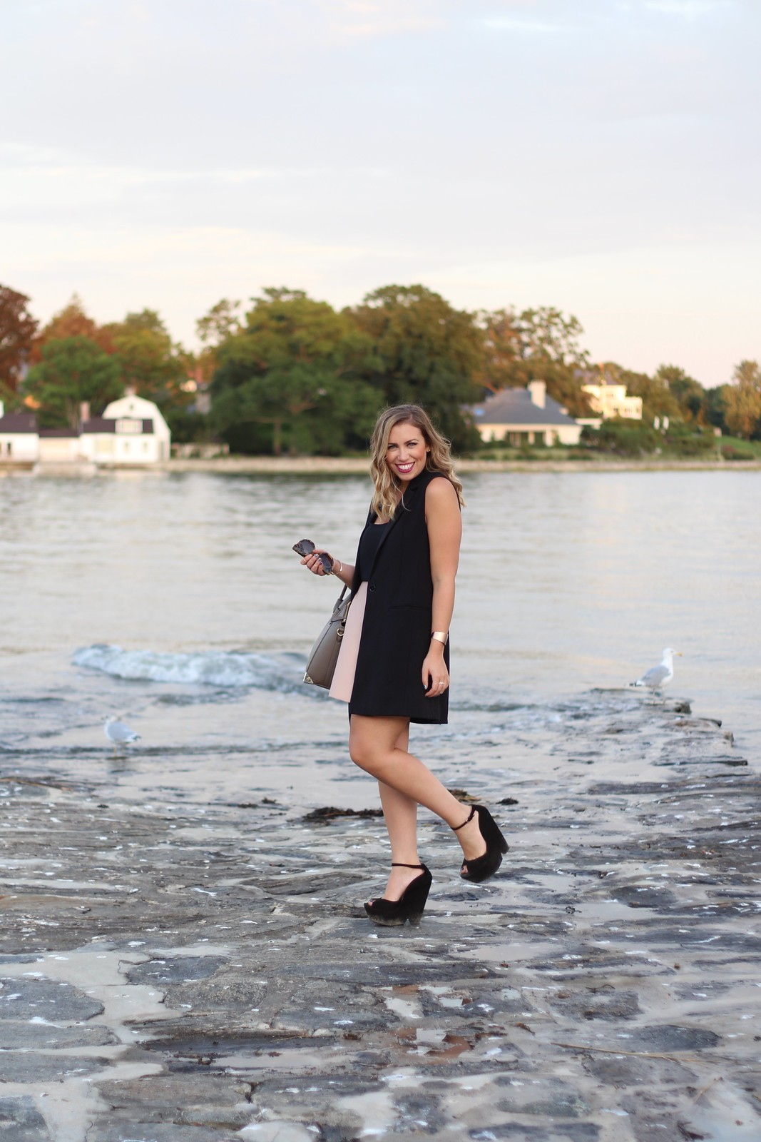 Blush Leather Skirt | Long Black Vest | Greenwich Connecticut | A Look Back at 10 Years of Blogging Living After Midnite Blogger Jackie Giardina