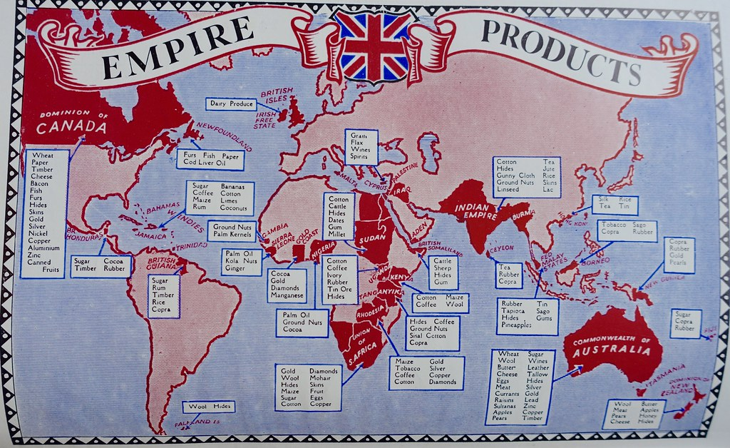 British Empire products map - from a childhood dictionary ... on map language, map world, map jokes, map google, map math,