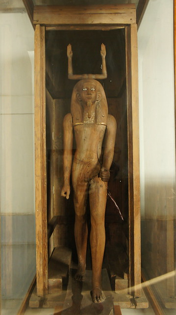 A wooden statue of an ancient Egyptian deity Heka at the Egyptian Museum of Cairo