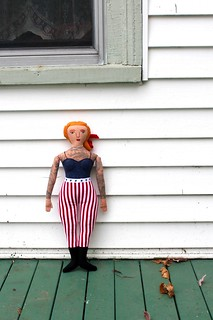 stars and stripes tattooed lady   by Mimi K
