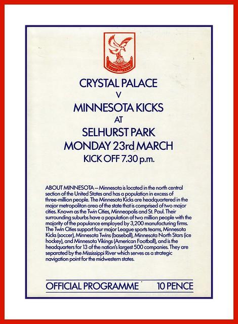 Crystal Palace FC v Minnesota Kicks, 1981