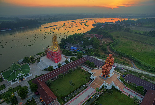 morning statue sunrise reflections river landscape thailand boats temple dawn boat buddha buddhist fields wat rc chaophraya drone pathumthani phantom3 p3a dji aeroscape phantom3advanced djip3a chonlaprathan