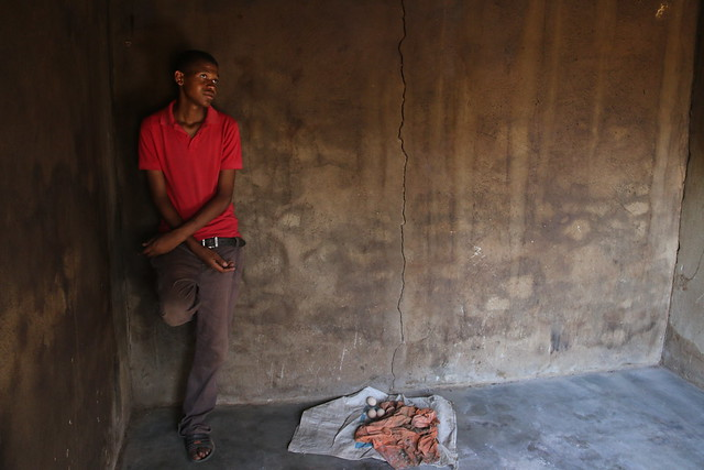 Yamkelo Mvimbela, 18, a student in Form 1, says his crops failed due to drought and he now requires assistance. He recently received some maize, beans and cooking oil from World Vision in partnership with Esicojeni Foundation.