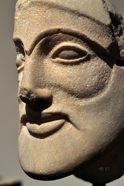 Warrior from the Pediment at Aegina from the National Archaeological Museum (artificial light, Oct 2014)