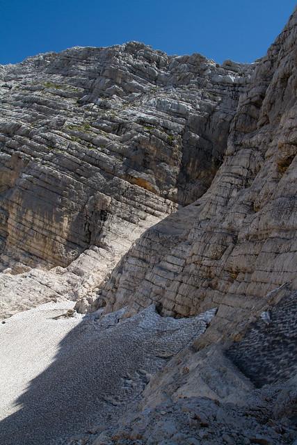 Ghiacciaio sotto al monte Canin. Glacier down the mounth Canin.