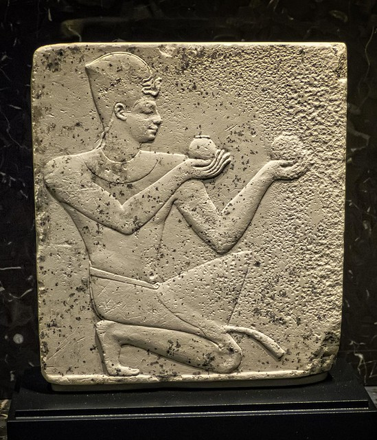 Relief depicting either Pharaoh Nectanebo I or II offering wine Egypt Late Period 30th Dynasty 380-343 BCE Limestone