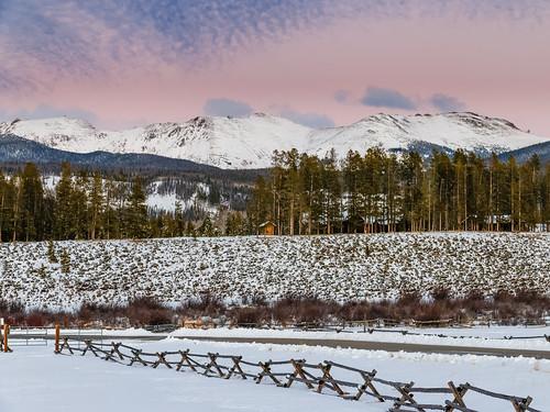 sunset mountain snow fence landscape cabin colorado skiing unitedstates resort pines fraser devilsthumbranch