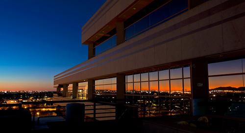 sunset arizona reflection building phoenix reflections lights az bluehour tempe