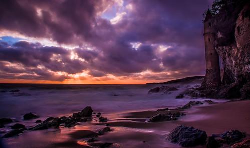 ocean california sunset distortion blur color tower beach water clouds photoshop canon sand rocks waves pirate geology lightroom catssuck lagua