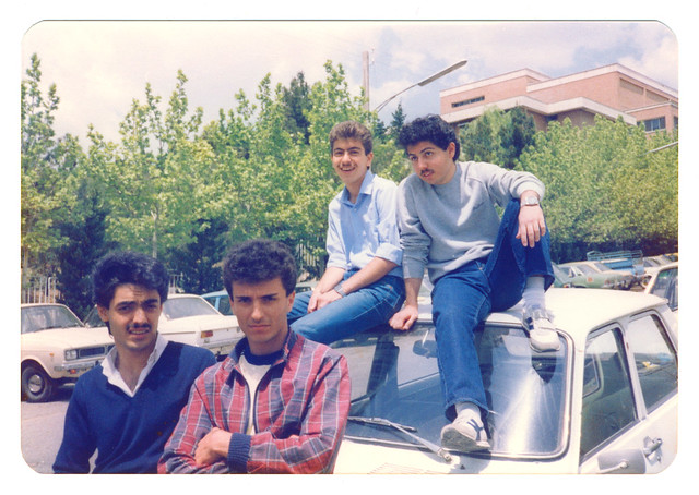 Students in Parking Lot of Shahid Beheshti University, Tehran, Iran (Persia), May 1985