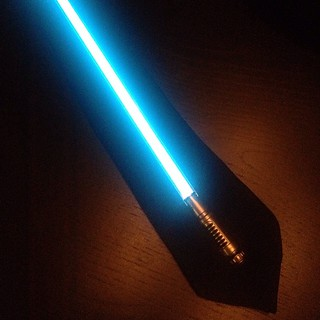 Lightsaber necktie. Because what else was I going to wear to a @blacktribbles #StarWars party?   by Jared Axelrod