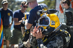 SYDNEY, Australia (Nov. 16, 2016) A Royal Australian Navy Diver prepares for underwater salvage operations with Mobile Diving Salvage Unit (MDSU) 1 during exercise Dugong 2016. Dugong is a bilateral U.S Navy and Royal Australian Navy training exercise, advancing tactical level U.S. service component integration, capacity, and interoperability with Australian Clearance Diving Team (AUSCDT) ONE. (U.S. Navy photo by Petty Officer 1st Class Arthurgwain L. Marquez)