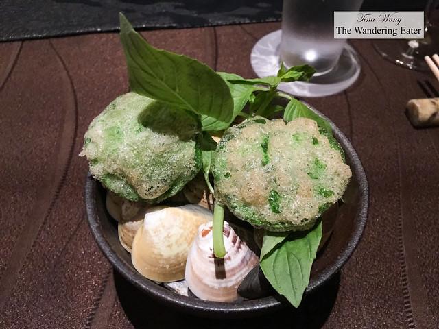 1st course - Clam, Taiwan basil, Crown Daisy