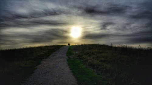 blue winter sunset sky people cloud sun colour green nature grass yellow clouds walking outside person photography photo colours photographer phone cloudy photos outdoor path walk hill samsung together walkway colourful persons pathway handinhand warmsunset samsungnote4