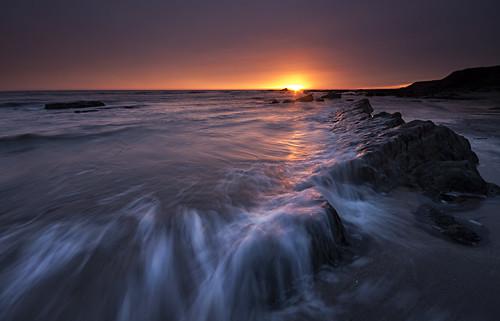 sea sunrise dawn waves spittal