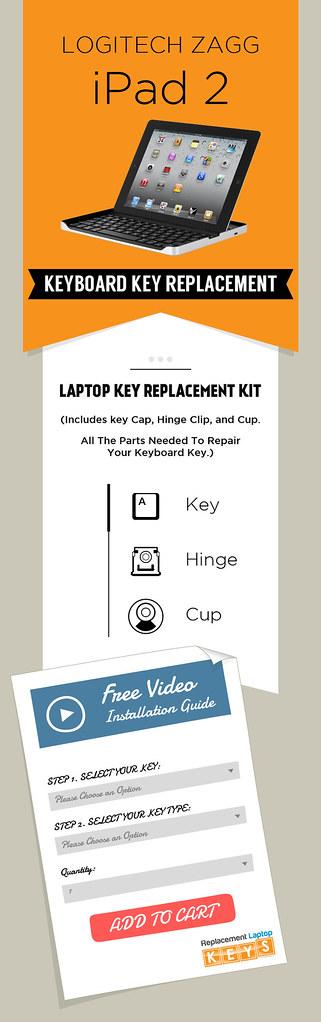 Buy Original Logitech Zagg iPad 2 Keyboard Keys online from Replacement Laptop Keys