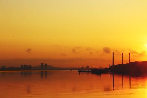 sunrise landscape borders johorstrait