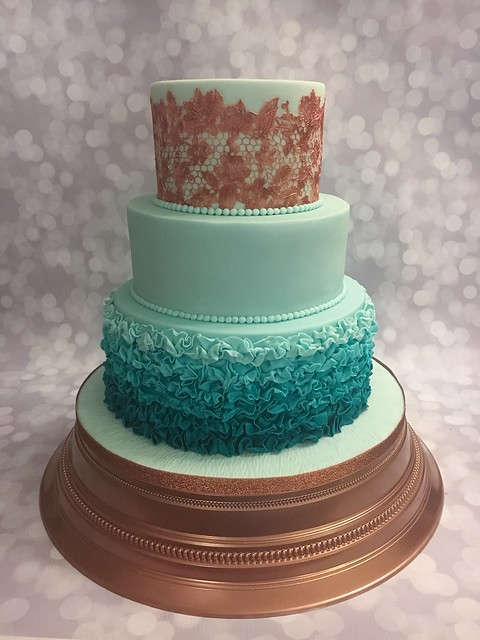 A cake for a copper and teal colour scheme wedding ......