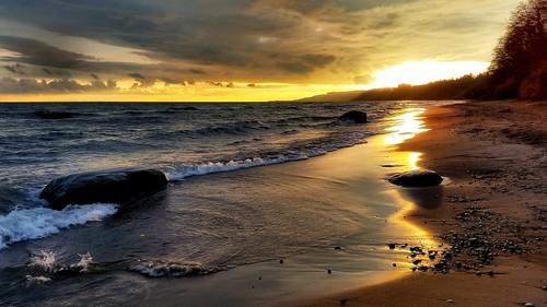 sunset scarborough golden beach waves shoreline
