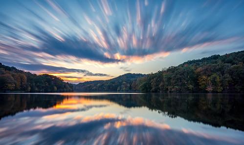 sunset raccooncreekstatepark pennsylvania pittsburgh reflection clouds longexposure outdoor lake sun