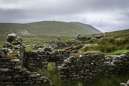 ireland house island cottage ruin achillisland desertedvillage slievemore