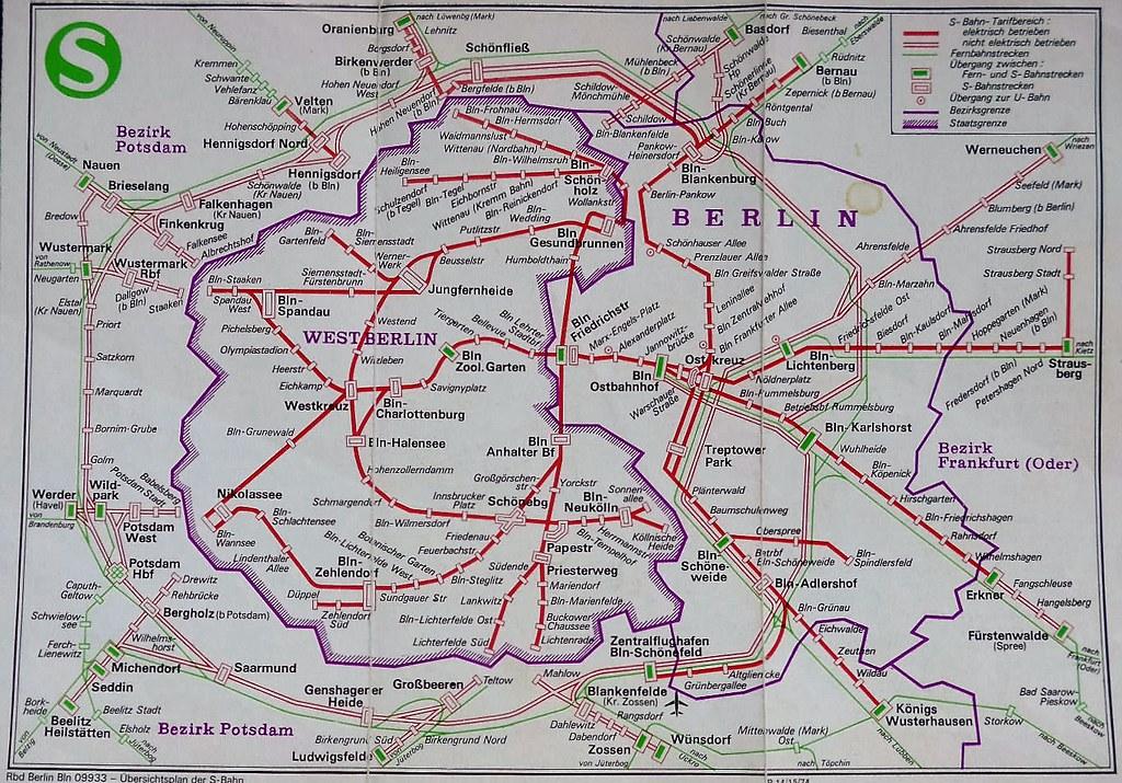 West Berlin Karte.Ost Und West Berliner S Bahn Karte Zu Ddr Zeiten 1984 Sandra