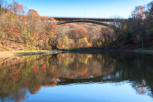 commonwealthpa schenleypark pennsylvania kwtracyghostship pa pittsburgh alleghenycounty pantherhollowlake westernpa unitedstates us bridge lake reflections autumn fall solitude calm shimmering ripples scenery pond structure