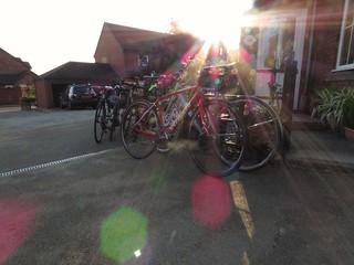 Setting sun on bikes