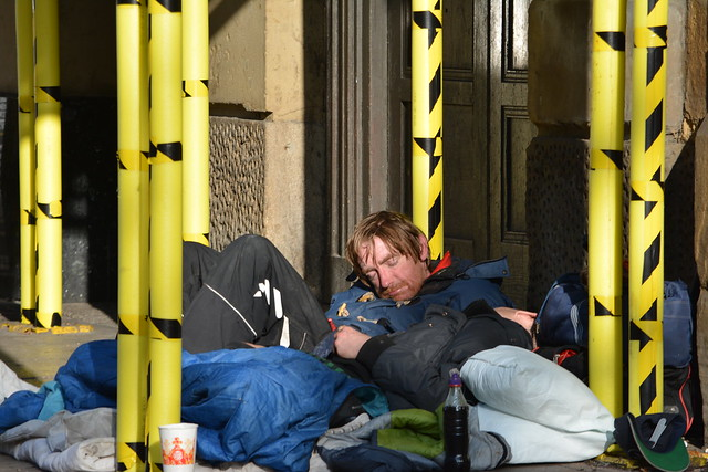 Homeless in Piccadilly, Manchester, England.