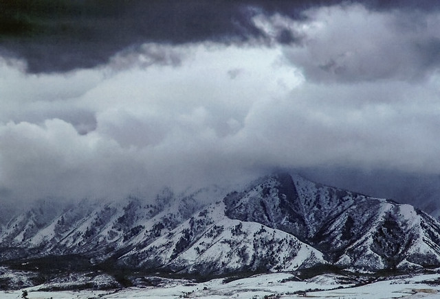 Winter storm over Wellsville Mountain